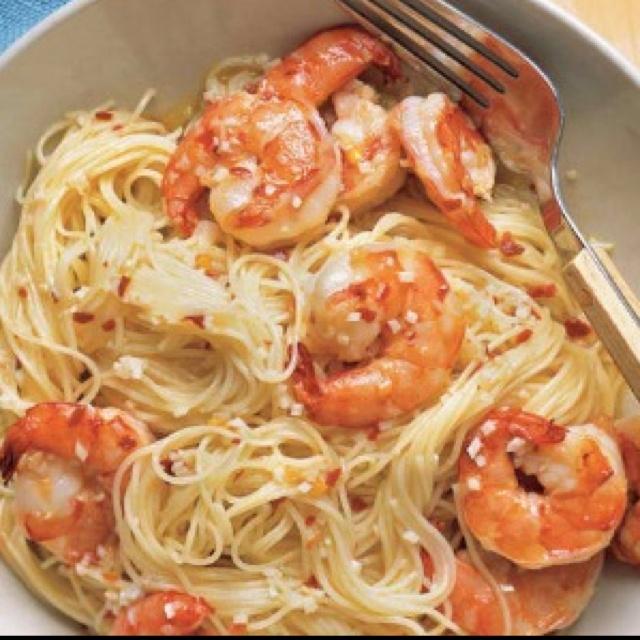 Chili shrimp and angel hair pasta | Foods I Love | Pinterest