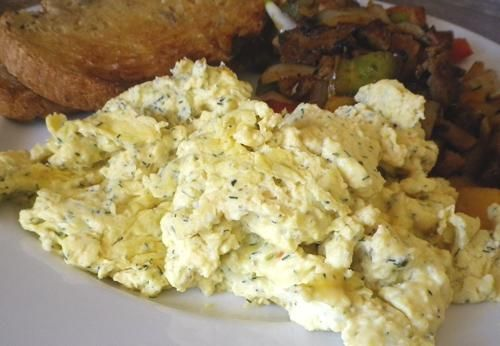 Scrambled Eggs. for each egg you use one oz of cream cheese. Get eggs ...