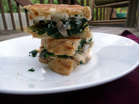 Spinach, Pesto, and Chardonnay Mushroom Grilled Cheese Sandwiches