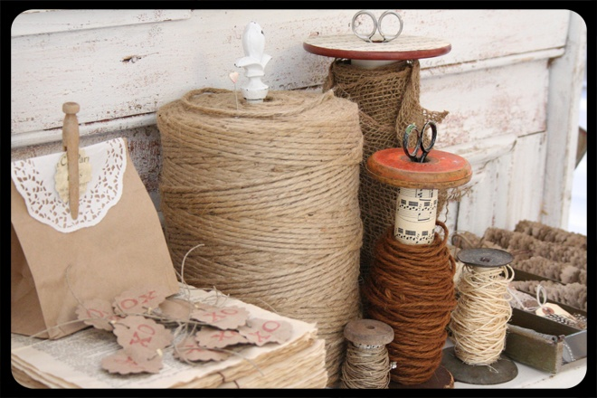 using old bobbins as twine holders