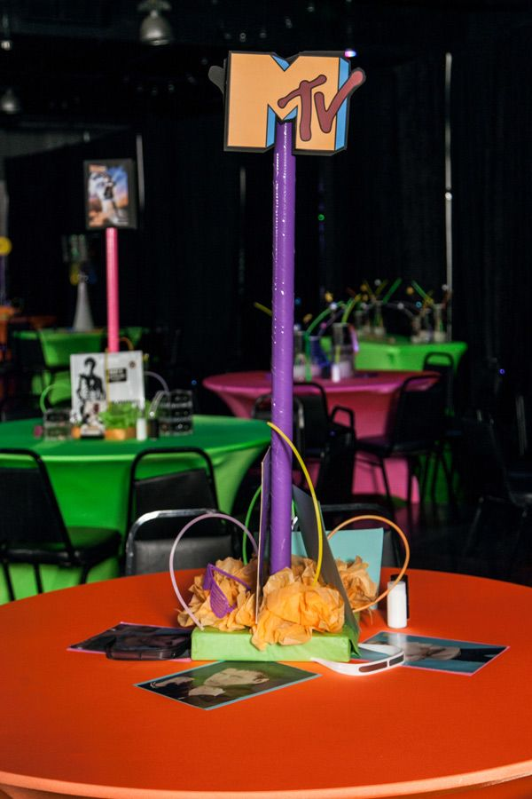Mtv centerpiece 80 39 s party southern event planners for 80 s table decoration ideas