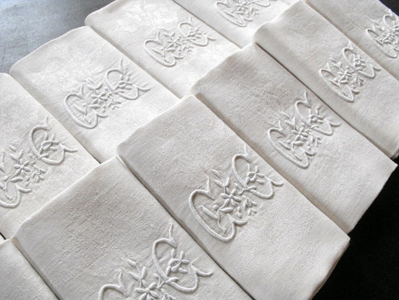 Antique monogrammed French linen napkins