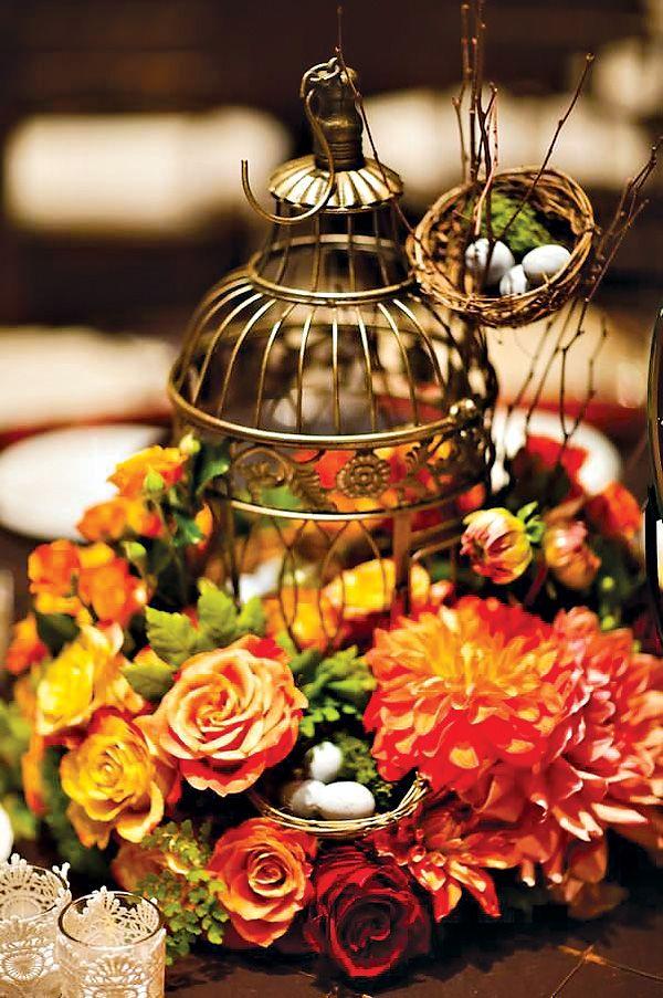 Gold Birdcage Centerpiece : Romantic beautiful bird themed wedding