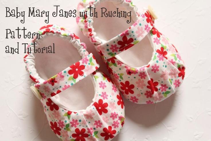 Baby Shoe Pattern - MaryJanes (Ruching