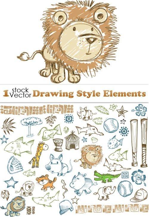 Нарисованные животные и объекты в