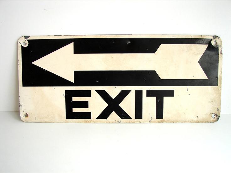 Vintage Industrial Metal Exit Sign With Arrow