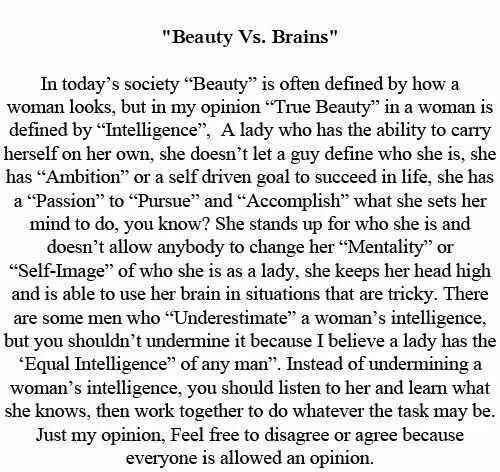 beauty vs brains essay 09072014  beauty vs brains - duration: 8:50 humanchemistry101 3,358 views 8:50 the massive debate - aliens exist and will discover us soon - duration: 4:17.