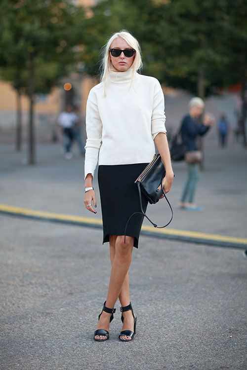 Stockholm Street Style - turtle neck and pencil skirt with sandals.