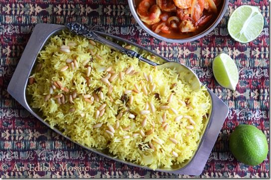 Saffron Rice with Golden Raisins and Pine Nuts - Cake Duchess