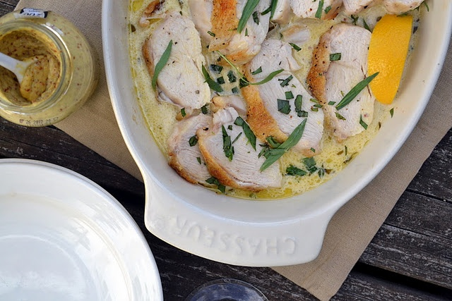 LOVE TARRAGON! Roast Chicken Breasts with Tarragon and Mustard Sauce
