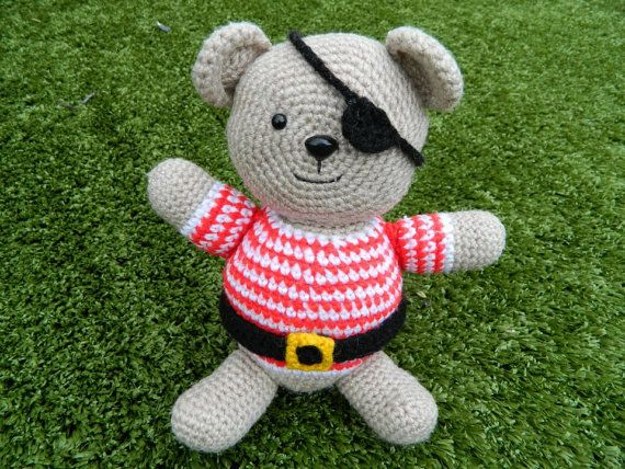 Crochet Pirate Teddy by beautifwool on Etsy