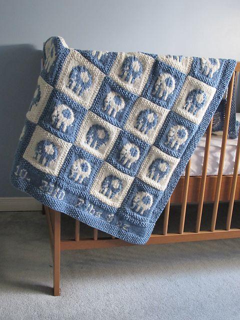 Knitting Pattern Baby Blanket Elephant : Elephant Blocks Baby Blanket pattern by Alexandra ...