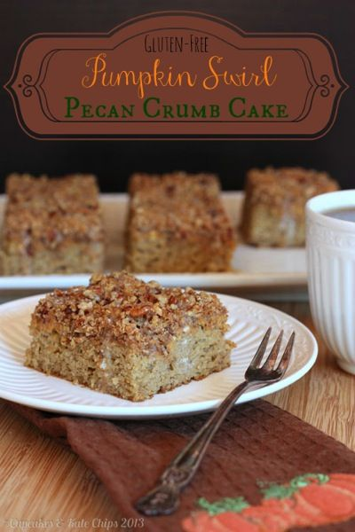 #GlutenFree Pumpkin Swirl Pecan Crumb Cake
