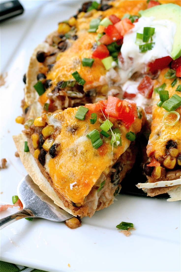 Bean & Tortilla Pie: layers of tortillas, refried beans, sauteed ...
