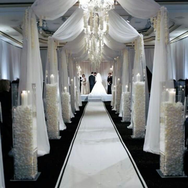 White draping for ceremony black tie wedding pinterest for Aisle decoration wedding