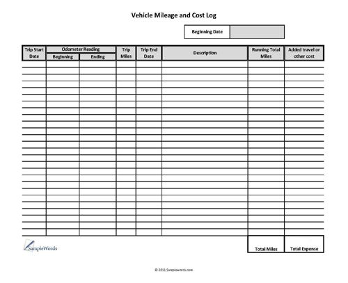 vehicle mileage and cost form