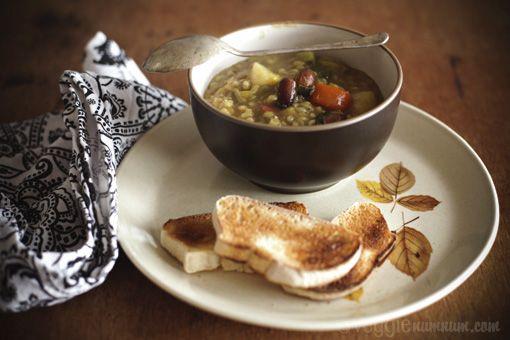 Curried Vegetable Stew w/ Pearl Barley & Almonds