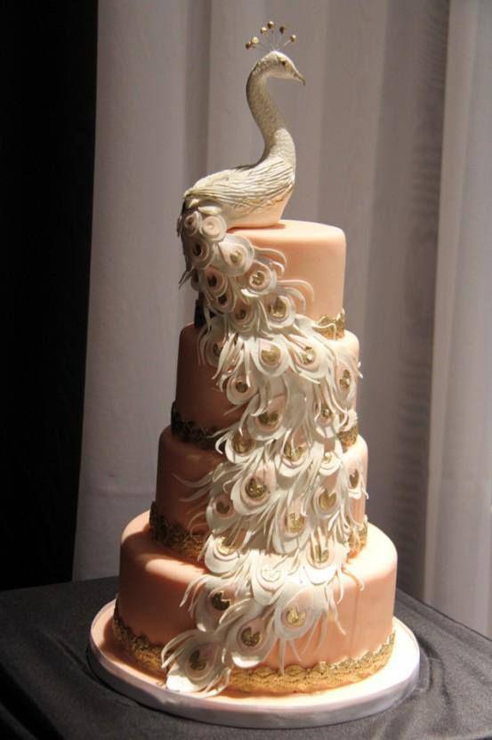 elegant peacock wedding cakes