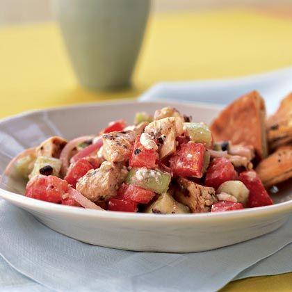Chicken Souvlaki With Tzatziki Sauce And Greek Salad Recipes ...