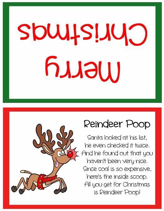 ... Craft: Reindeer Poop Stocking Stuffer or Party Favor - Free Printable