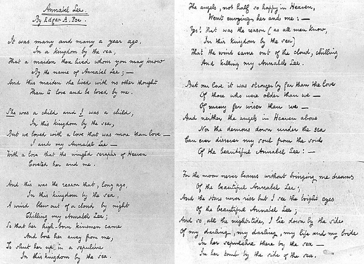 the raven and annabel lee essay Annabel lee and the raven comparison essays: over 180,000 annabel lee and the raven comparison essays, annabel lee and the raven comparison term papers, annabel lee and the raven comparison research paper, book reports 184 990 essays, term and research papers available for unlimited access.