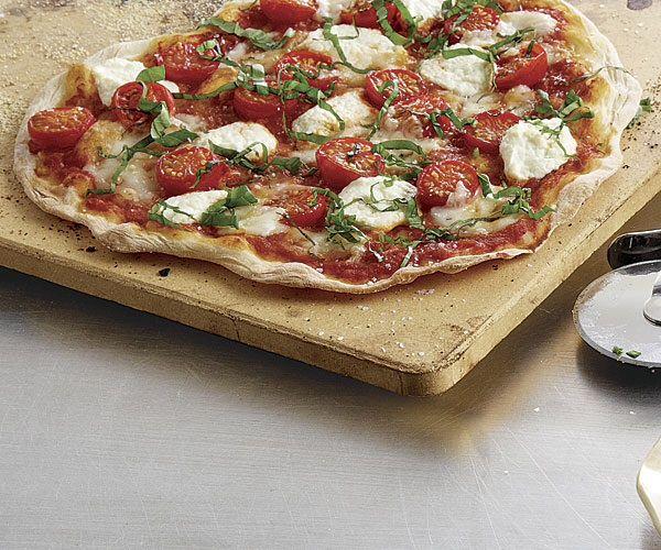 Cracker-Thin Pizza with Cherry Tomatoes, Fresh Mozzarella, Ricotta ...