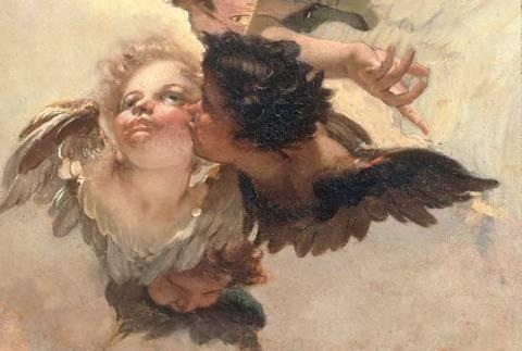 Cherub of artist Giovanni Battista Tiepolo, 164, 1696-1770, 1744, 270cm, Angel, Battista, Canvas, Capitolare