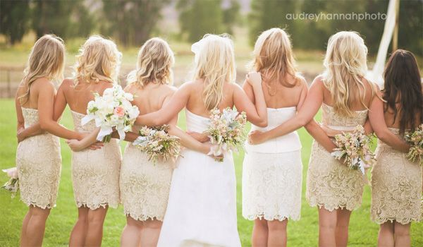Lace bridesmaid dresses.