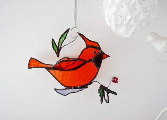 Stained Glass Bird. The Happy Cardinal. Ornament. Home Decor. Suncatc ...: pinterest.com/pin/302022718734729382