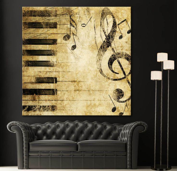 Piano Music Wall Decor : Black white piano keys music note canvas home fine wall