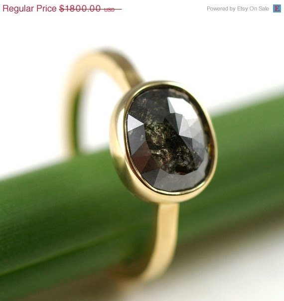 Black diamond ring kyleannemetals on etsy