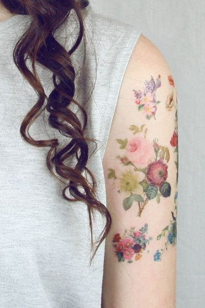 Floral temporary tattoos
