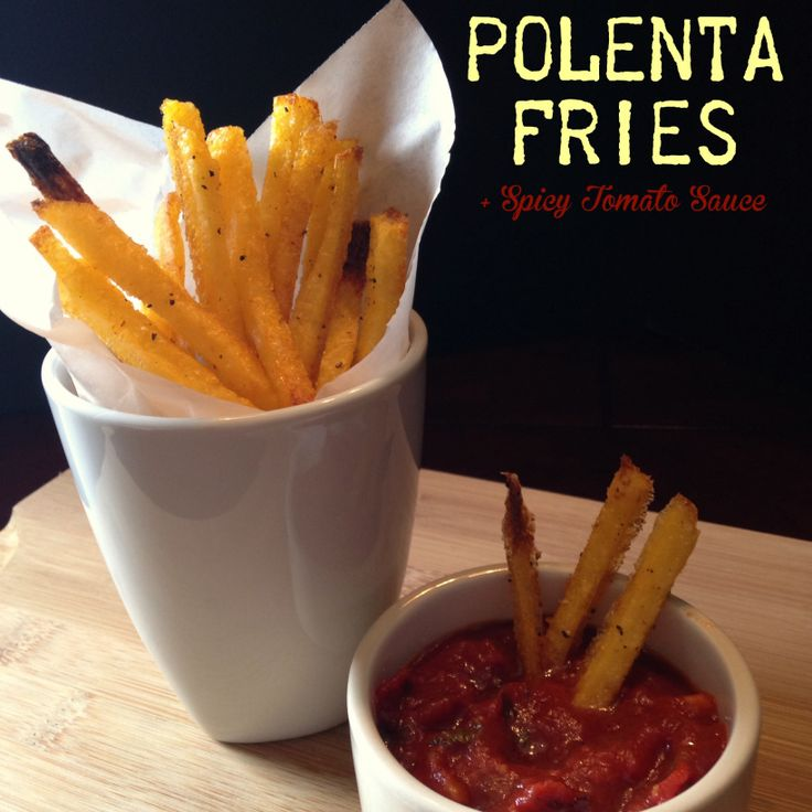 Baked Polenta Fries + Spicy Tomato Sauce | Dietitian | Pinterest