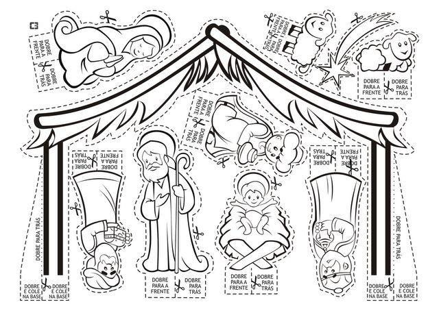 Рождественский вертеп из бумаги шаблоны