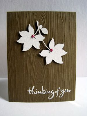 CAS--I can't wait to use my Big Shot and woodgrain embossing folder to make cards like this!