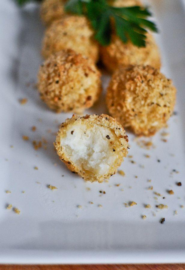 // crispy parmesan potato puffs.