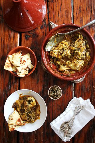 Chicken tagine with preserved lemons and green olives by ...
