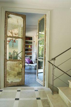 antiqued mirror door panels