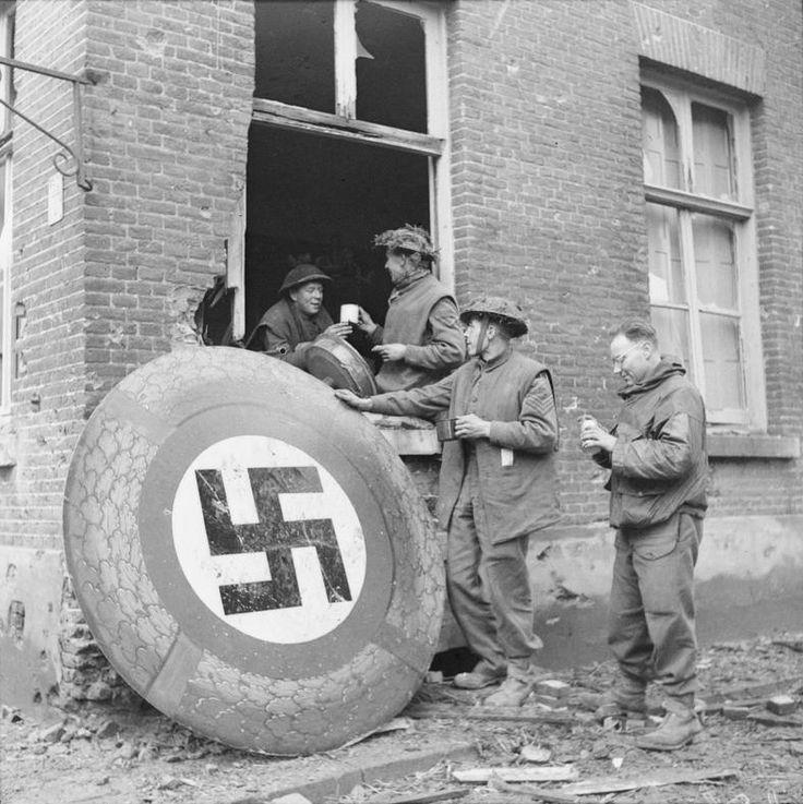 Kranenburg Germany  city photos : British army troops stop for tea in Kranenburg, Germany, next to a ...