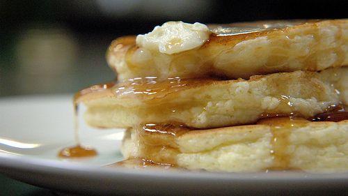 Ricotta Pancake w/ Lemon, Orange Compound Butter and Maple Syrup!