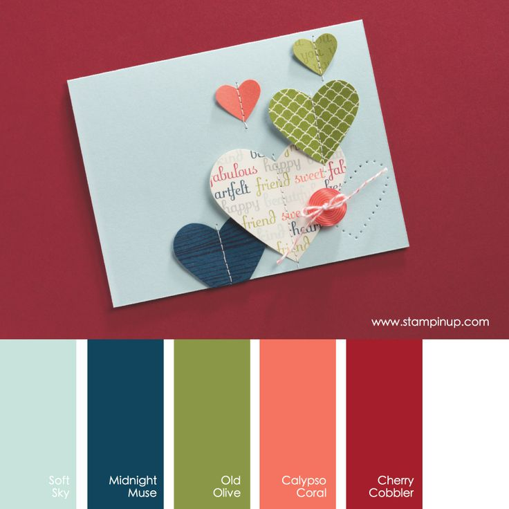 Soft Sky, Midnight Muse, Old Olive, Calypso Coral, Cherry Cobbler #stampinupcolorcombos