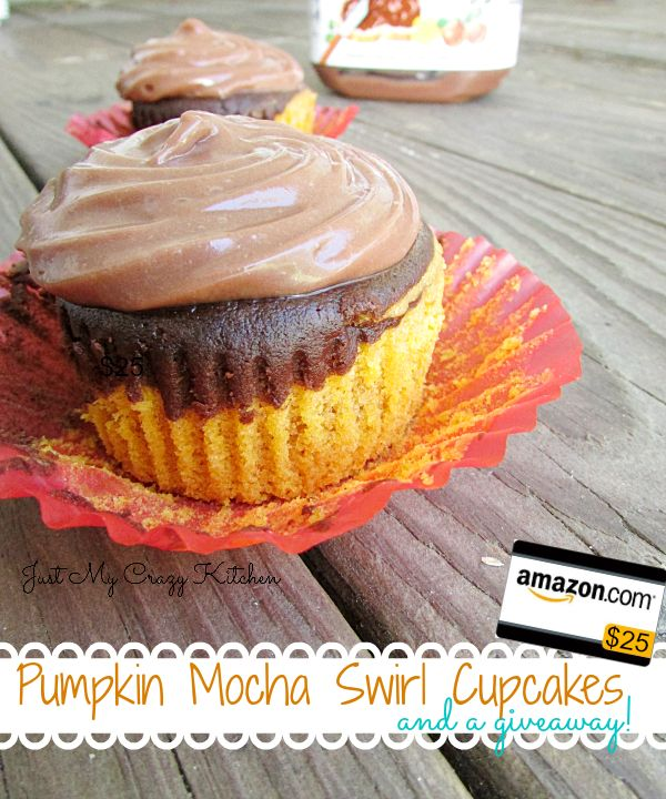 Pumpkin Mocha Swirl Cupcakes and A Giveaway - Just My Crazy Kitchen