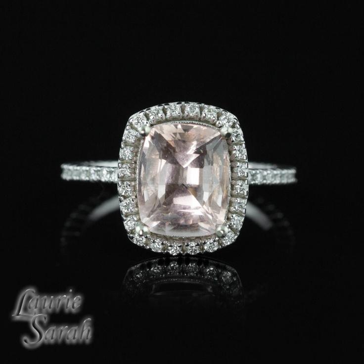 Rectangular Cushion Cut Light Pink Morganite and Diamond Engagement R…