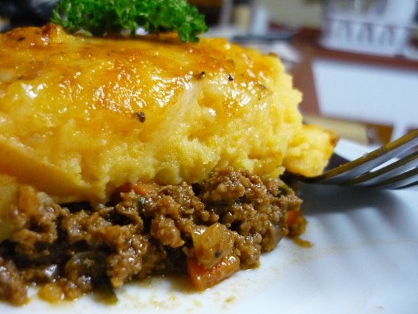 sweet potato cottage pie w/ ground beef, carrots, onion, garlic ...