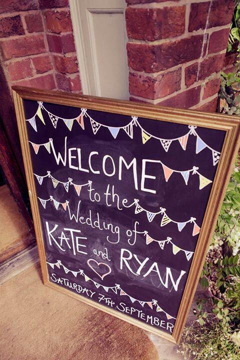 County Wedding! English country wedding blackboard welcome sign.