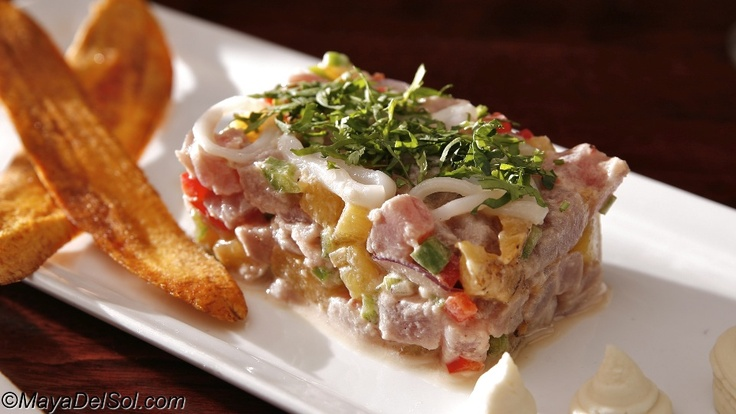 Pina Colada Ceviche - Yellowfin Tuna and calamari marinated in coconut ...