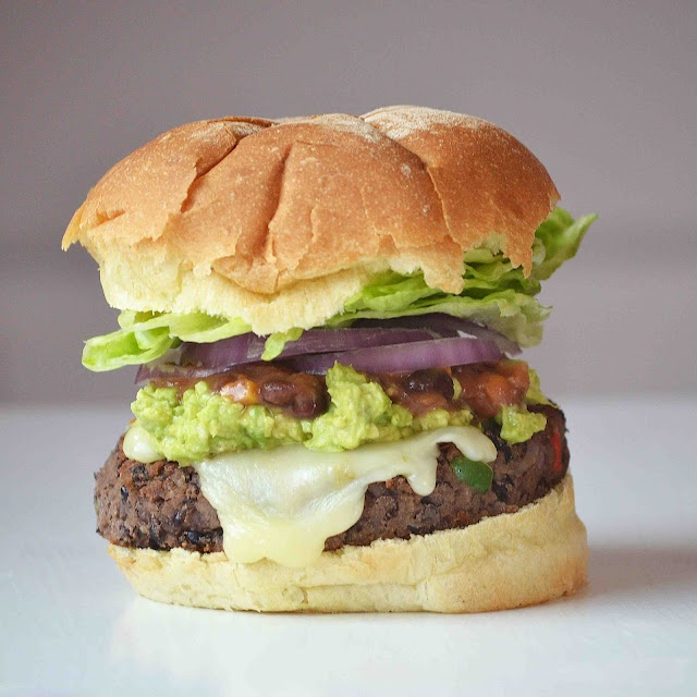 Black Bean Burgers topped with Pepper Jack, Fresh Avocado, Red Onion ...