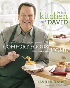 """Who's up for a happy dance? If you're a fan of QVC's David Venable, the genial host of """"In the Kitchen with David,"""" you'll pull out your tap shoes and put on his trademark """"yummy face"""" when you get a look at his new cookbook, out today."""
