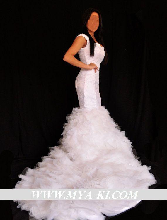 Kim Kardashian Mermaid Wedding Gown : Kim kardashian inspired mermaid wedding dress with detachable princes