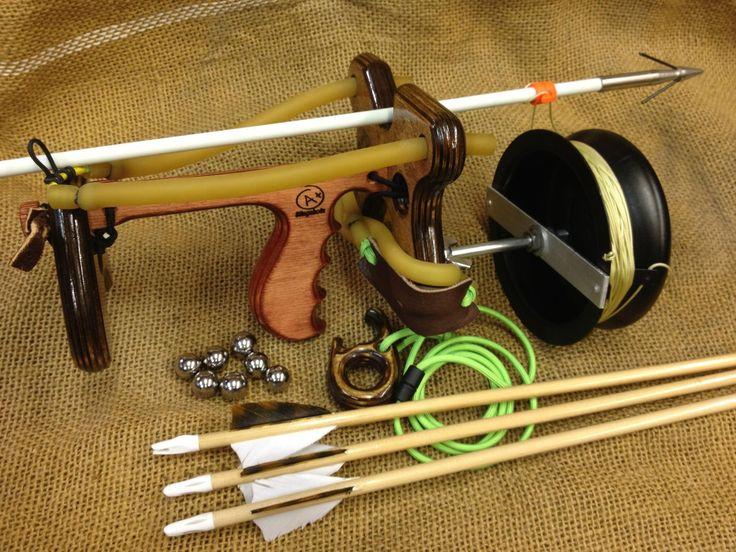 Jackalope slingbow springs strings and air pinterest for Mini crossbow fishing
